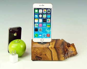 Natural live edge Walnut wood dock for ANY iPhone, Wood Charging station, iPhone 7 stand, 7 plus, Docking station, gift for him, USA, #742.