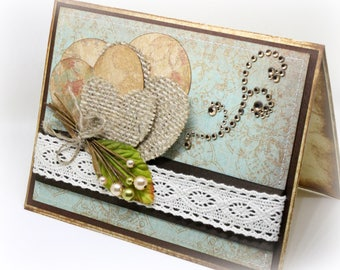 Valentine's Day Card - Burlap Valentine Handmade Card - Country Chic - Rustic Fabric Handmade Valentine