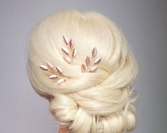 Rose Gold Hair Vine, Rose Gold Hair Piece, Copper Bridal Hair Comb, Rose Gold Headpiece, Rose Gold Hair Pin, Copper Wedding Hairpiece