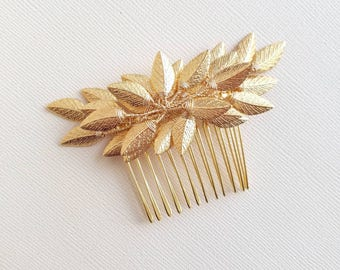 Gold Hair Comb, Gold Bridal Hair Piece, Gold Leaf Headpiece, Vine Hair Pin, Bridal Hair Vine, Leaf Hair Comb, Gold Leaf Hairpiece