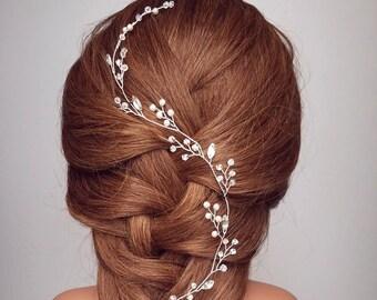 Bridal leaf wreath, Crystal Hair Crown, Baby's Breath Vine Hair Piece, Leaf Hair Vine, Wedding Headband, Bridal Leaf Vine, Bridal Tiara