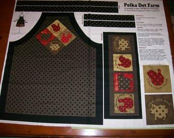 A Wonderful Polka Dot Farm Apron Fabric Panel Free US Shipping