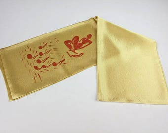 Pastel gold yellow Silk Scarf for Men, Handpainted Party, Aviator Scarf, Satin Pilots Scarf double, Double Layer Silk scarf, Hand made