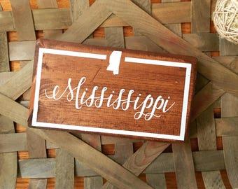 Mississippi wood state sign, home state sign, Mississippi sign