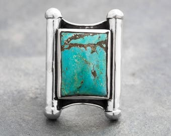 KINGMAN TURQUOISE Big Single Stone Ring - Wreaks of Royalty