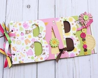 Mini scrapbook / Baby scrapbook album / premade scrapbook / word chipboard album / baby shower gift / newborn / baby girl / pink