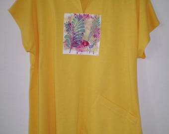 Yellow knit Tunic with Hand Painted detail-49.00-One of a kind Hand made for you