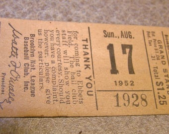 1952 Original Ticket Brooklyn Dodgers vs Philadelphia Phillies Baseball Unused