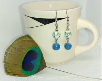 Floral blue and teal bead earrings