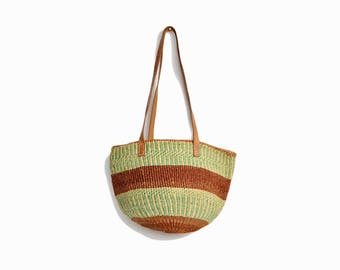 Vintage Striped Jute Market Tote Bag in Brown & Mint / Leather Strap Straw Bag / Boho Jute Purse