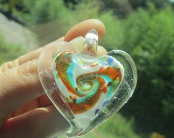PSYCHEDLIC SWIRL HEART (1) Pendant Jumbo Glass Glitter Lampwork