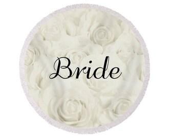 "Light Ivory ""Bride"" Round Beach Towel, large circle towel, gift for bride, bridal shower gift, honeymoon, destination wedding- 1610IVBRIDE"