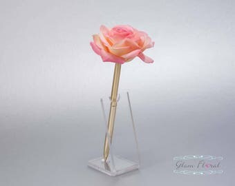 Confetti Coral Rose Guestbook Pen. Gold Wedding Pen Set, Wedding Pen Holder, Real Touch Rose Flowers. peach, pink. Tea Rose Collection