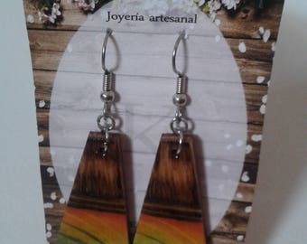 Wooden Earrings, Rustic, Stainless Steel, Handmade