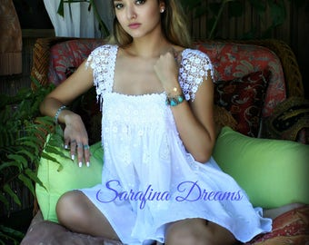 White Cotton Nightgown Cotton Baby Doll Lingerie Bridal Nightgown Wedding Lingerie Honeymoon Sleepwear Cotton Lingerie Lace Nightgown
