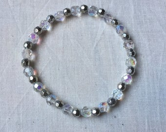 Silver and Iridescent Multifaceted Beaded Stretch Bracelet