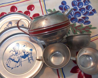 fun vintage aluminum play dishes