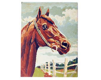 """Mid Century Paint-by-Number Horse Painting - """"Kitschy Cowboy - Horse Lover Fun"""" Aged Vintage Patina"""