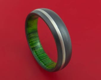 Black Zirconium Ring with Palladium Inlay and Jade Wood Sleeve Made to Any Sizing and Finish