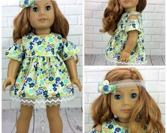 18 inch doll clothes AG doll clothes Blue floral dress made to fit dolls like american girl doll clothes. Includes headband