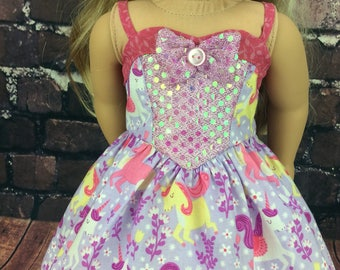 18 inch doll clothes AG doll clothes sequin unicorn dress made to fit dolls like american girl doll clothes.