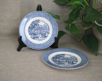 Vintage Currier & Ives Bread and Butter or Dessert Plate / Harvest by Royal Vintage Plates / 2 Vintage Blue and White Plates / Small Plates