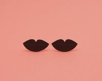 SALE Lips Earrings // Black Lips // Surreal Earrings // Pop Art Earrings // Shrink Plastic Earrings