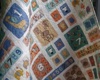 Baby Boy Quilt, Animal  Quilt, ABC Quilt, Safari Quilt, Baby Boy Bedding Set,