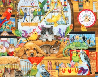 Robert Kaufman Whiskers & Tails Collection Bright Pet Store Fabric - 1 yard