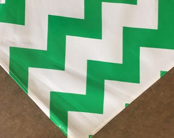 48x48 Chevron Green Oilcloth Tablecloth with a Simple Hem