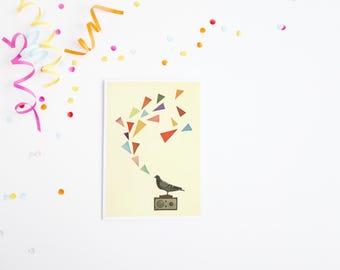 Pigeon Radio - Mid Century Surreal Blank Greetings Card With Bird Design