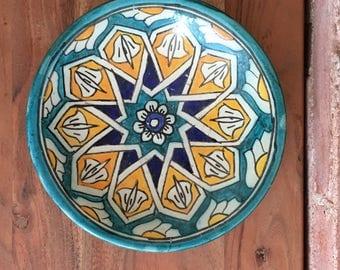 Vintage Yellow/Blue Geometric Design Bowl / Vintage Pottery / Catch-all / Vintage Dish / Ceramic Bowl / Centerpiece / Geometric Designs
