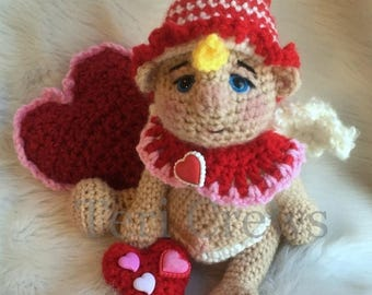 Summer Sale Cute Cupid Crochet Pattern Adorable Amigurumi Style Cupid by Teri Crews