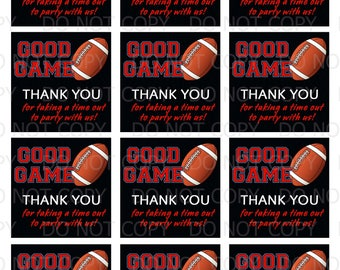 Printable DiY Sports Football Theme Favor Tags - INSTANT DOWNLOAD