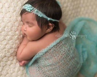 ON SALE Aqua Mohair Wrap and Headband, baby girl prop, wrap and tie back, mohair wrap, newborn photo prop, photography prop, wrap set