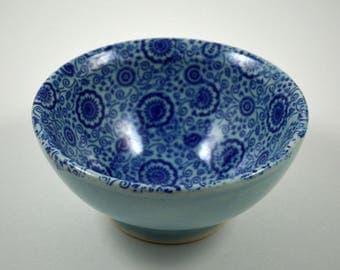 Something Blue!/ Wedding Ring Dish/ Porcelain Ring Dish/ Blue Porcelain Ring Dish with Blue Floral Pattern/ Ring Bowl