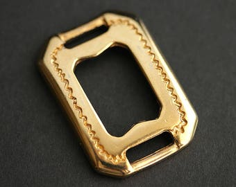 Large Gold Connector. Southwestern Rectangle Connector. Recycled Vintage Findings. Gold Plated Stainless Steel Links. 38mm x 27mm