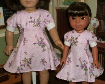 Big Sister  Little Sister  in 1950s Pink Matching Dresses
