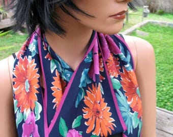 GORGEOUS  Silk Signed Vera  70s  Floral Jewel Tone Oblong Scarf MINT Condition