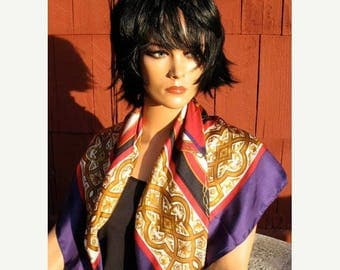 15 % off Deadstock 90s Beautiful 36x36 Silk Shawl Scarf In Purple Gold Ochre  Black and Crimson with Tags MINT
