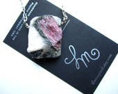 Watermelon Tourmaline in Quartz Matrix Pendant Sterling Silver Details and Handmade Clasp by LM-inspired