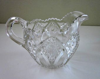 Vintage Clear Pressed Glass Cream Pitcher, Sawtooth Rim - Hobstar Creamer - Pattern Glass Cream Pitcher - Salad Dressing or Sauce Pitcher