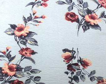 Dusty Blue Burgundy and Peach Floral Rayon Spandex Jersey Knit Fabric, 1 Yard