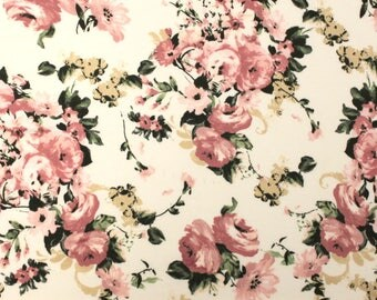 Cream Dusty Pink and Yellow Floral Brushed Poly Spandex Knit, 1 yard