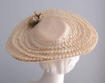 1940s hat / 40s 50s vintage ivory beige cello Straw Cartwheel saucer platter Hat