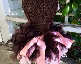 Tutu dress, feather tutu dress, pageant outfit, wedding flower girl, double layer feather, flower girl, birthday tutu dress, black dress