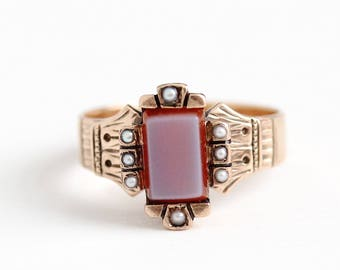 Antique Victorian 10k Rosy Yellow Gold Sardonyx & Pearl Ring - Vintage 1890s Size 6 Banded White Red Halo Gemstone Statement Fine Jewelry