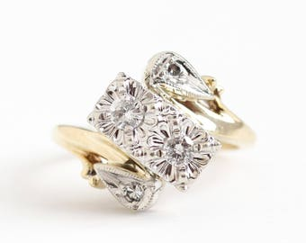 Vintage 14k Yellow & White Gold .23 CTW Diamond Bypass Ring - Size 5 1950s Fine Illusion Engagement Bridal Wedding Jewelry Appraisal