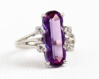 Vintage Color Change Ring - 10k White Gold Created Sapphire & White Spinel Ring - 60s Retro Size 6 3/4 Statement Purple Violet Fine Jewelry