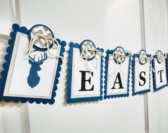 Buck Silhouette Name Banner - Woodland Nursery - Tribal - Chic Navy and Gray Color Scheme - MADE TO ORDER